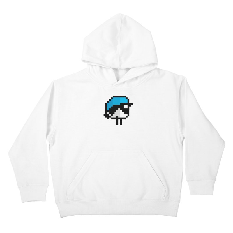 Black-throated Blue Warbler [8-bit Version] Kids Pullover Hoody by minusbaby