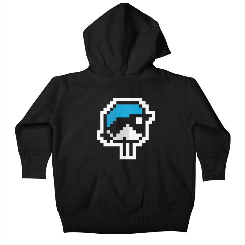 Black-throated Blue Warbler [8-bit Version] Kids Baby Zip-Up Hoody by minusbaby
