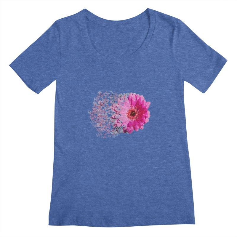 Pink gerbera flower Women's Scoopneck by Mirabelle Digital Art shop
