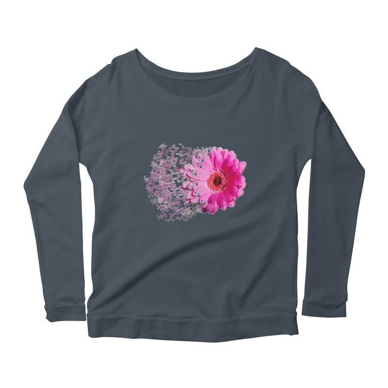 Pink gerbera flower Women's Longsleeve Scoopneck  by Mirabelle Digital Art shop