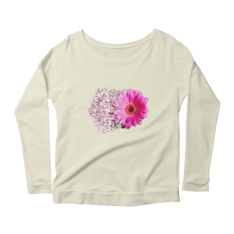 Pink gerbera flower Women's Scoop Neck Longsleeve T-Shirt by Mirabelle Digital Art shop