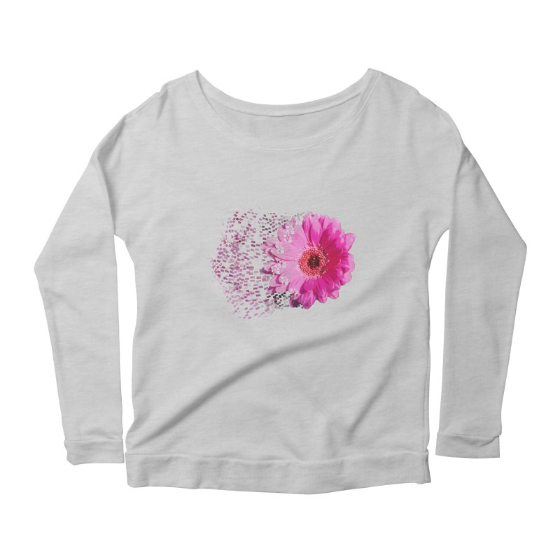 Pink gerbera flower Women's Longsleeve Scoopneck  by Mirabelle Digital Art shop