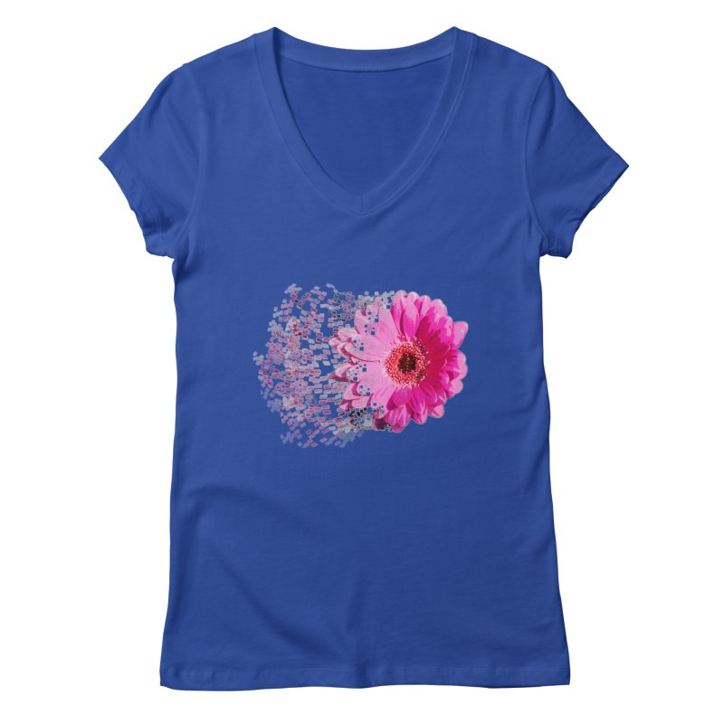 Pink gerbera flower Women's V-Neck by Mirabelle Digital Art shop