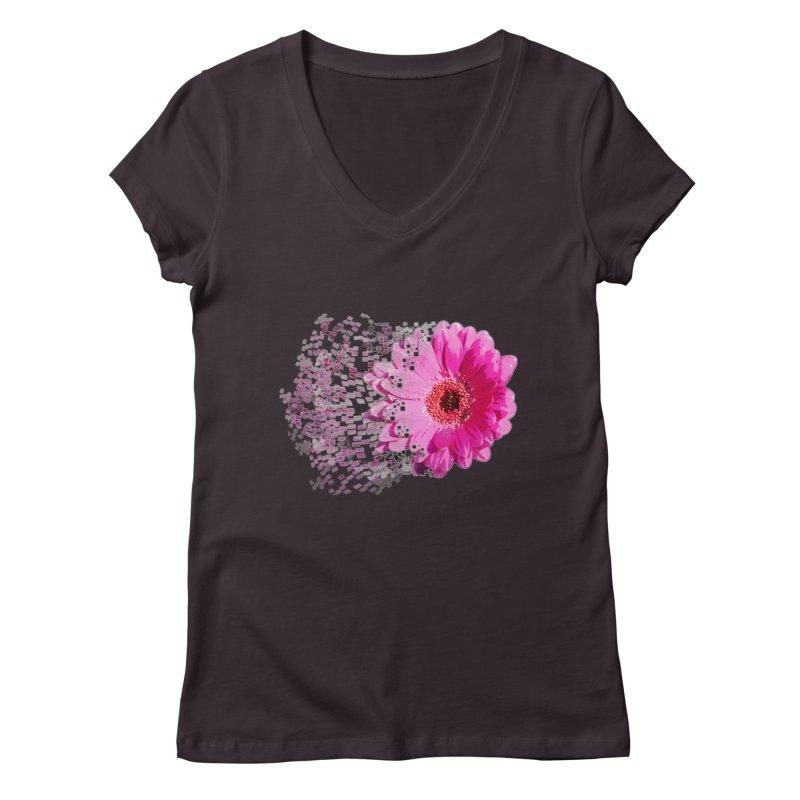 Pink gerbera flower Women's V-Neck by Mirabelle Digital Art shop