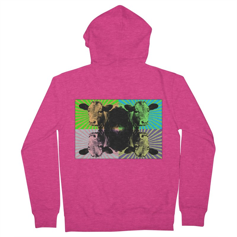 Popart cow Women's French Terry Zip-Up Hoody by Mirabelle Digital Art shop