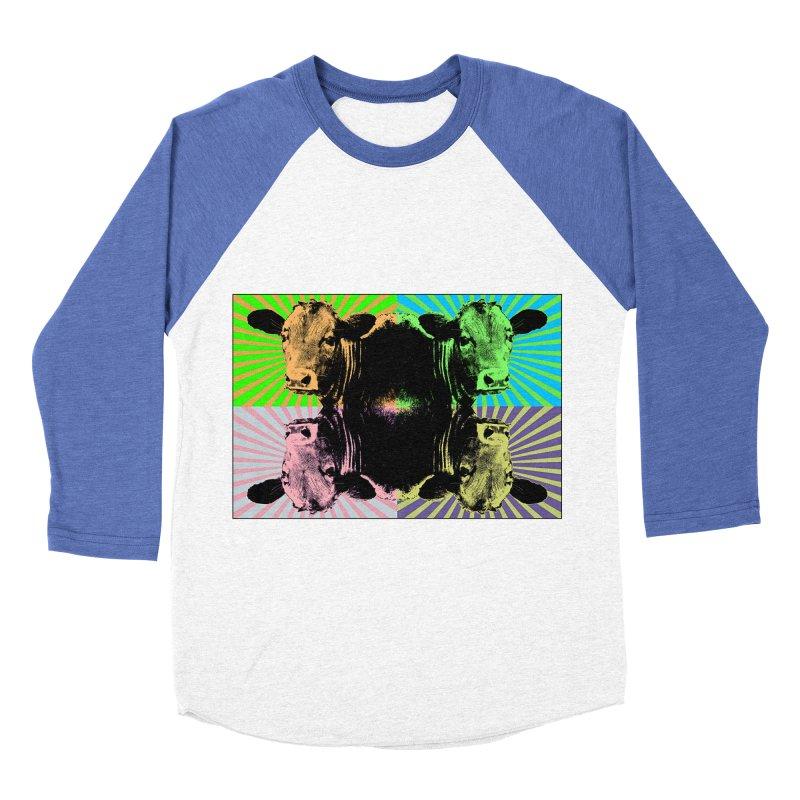 Popart cow Women's Baseball Triblend T-Shirt by Mirabelle Digital Art shop