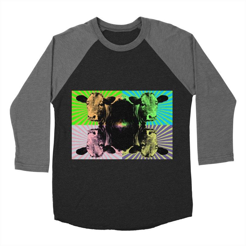 Popart cow Women's Baseball Triblend Longsleeve T-Shirt by Mirabelle Digital Art shop