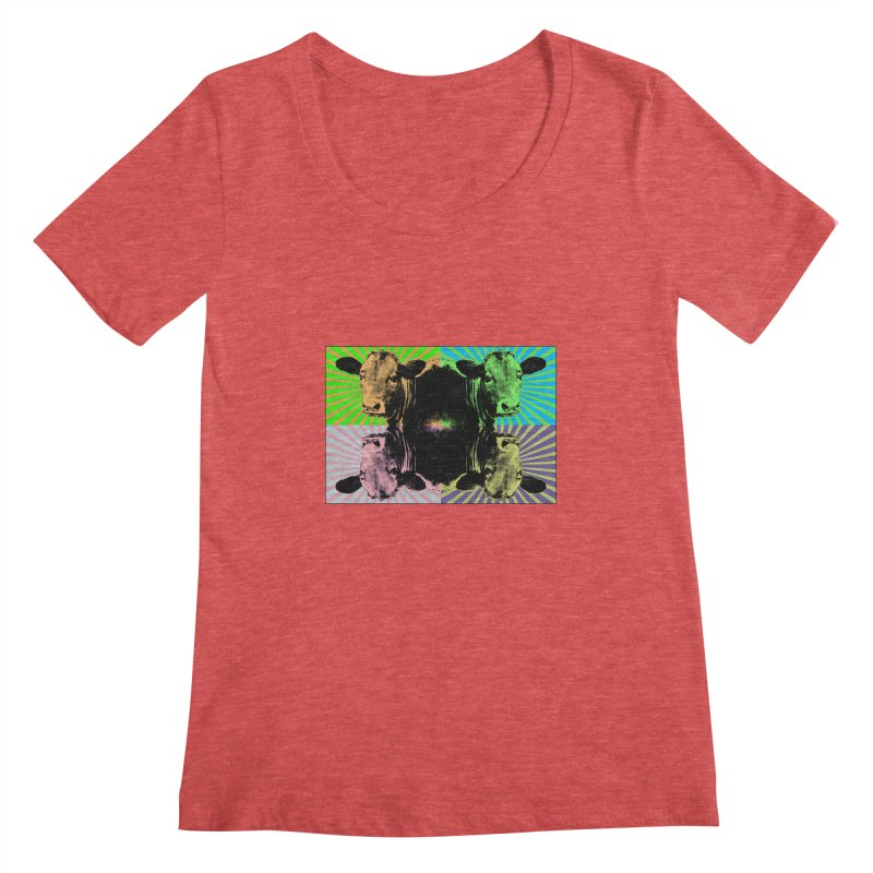 Popart cow Women's Scoopneck by Mirabelle Digital Art shop
