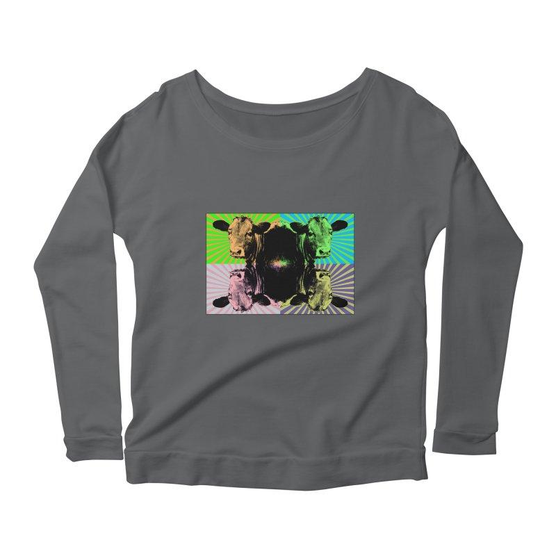 Popart cow Women's Scoop Neck Longsleeve T-Shirt by Mirabelle Digital Art shop