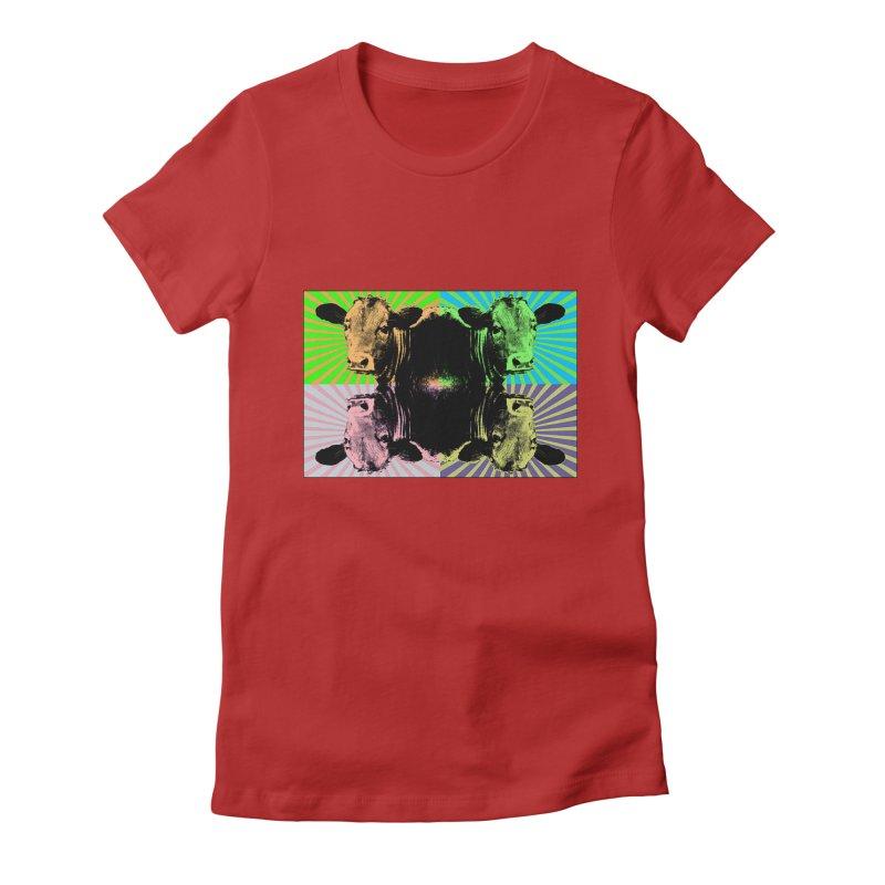 Popart cow Women's Fitted T-Shirt by Mirabelle Digital Art shop