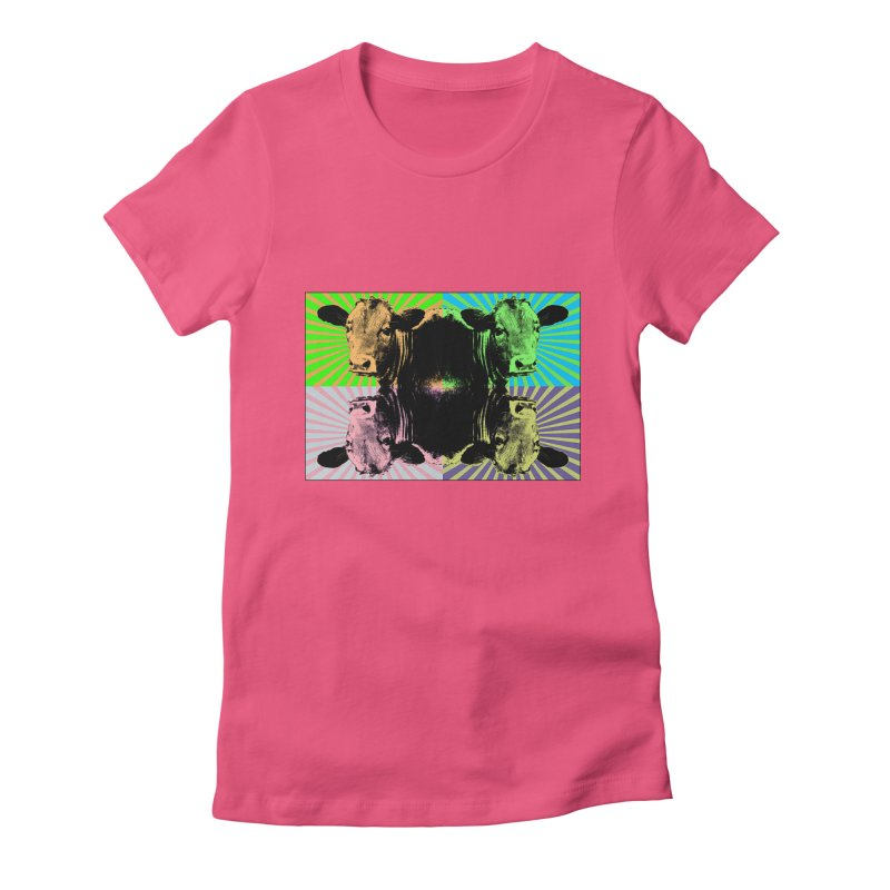 Popart cow Women's Fitted T-Shirt by Mirabelle Digital Art shop