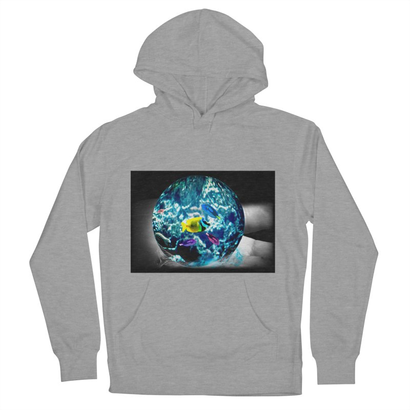 Globe with the ocean in his hands Men's French Terry Pullover Hoody by Mirabelle Digital Art shop