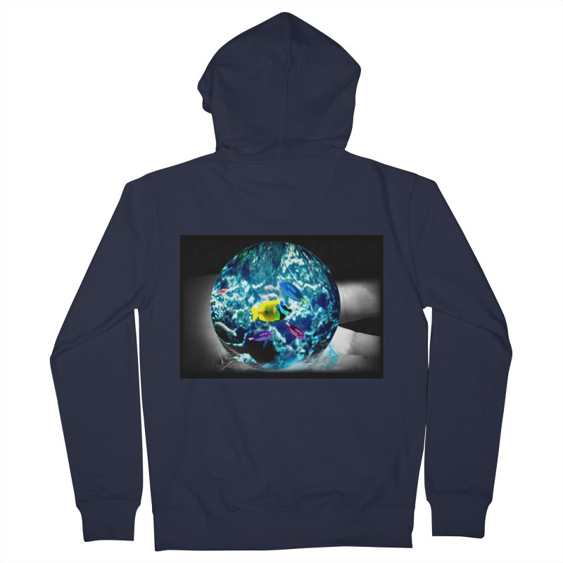 Globe with the ocean in his hands Women's Zip-Up Hoody by Mirabelle Digital Art shop