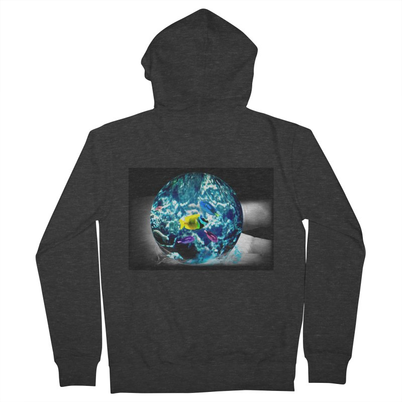 Globe with the ocean in his hands Men's French Terry Zip-Up Hoody by Mirabelle Digital Art shop