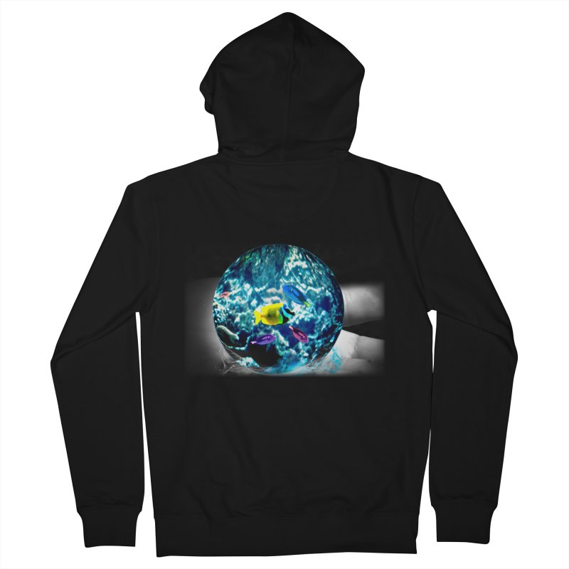 Globe with the ocean in his hands Men's Zip-Up Hoody by Mirabelle Digital Art shop