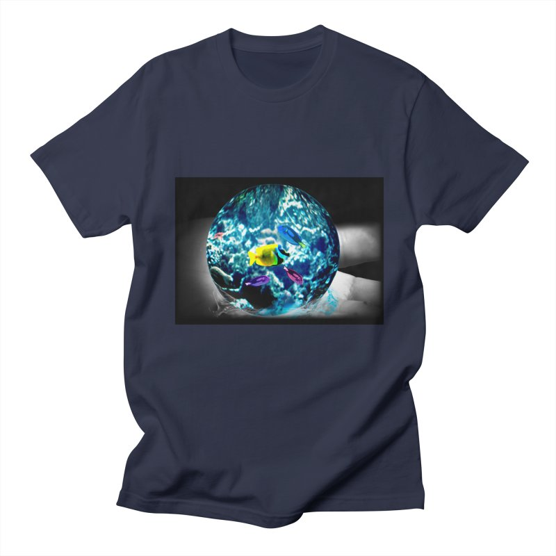 Globe with the ocean in his hands Men's T-Shirt by Mirabelle Digital Art shop