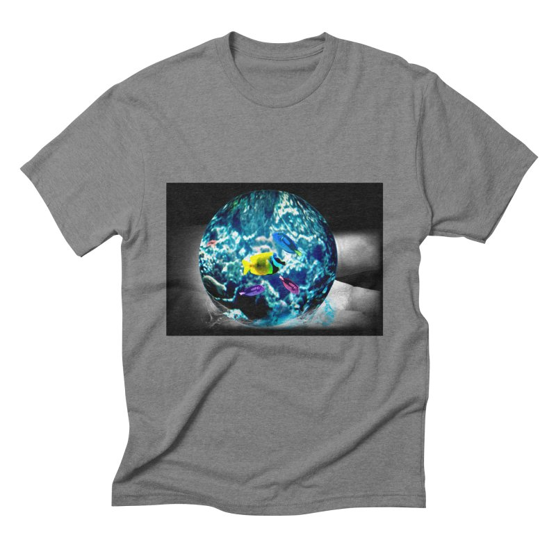 Globe with the ocean in his hands Men's Triblend T-Shirt by Mirabelle Digital Art shop