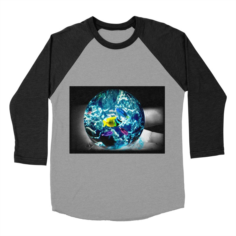 Globe with the ocean in his hands Women's Baseball Triblend T-Shirt by Mirabelle Digital Art shop