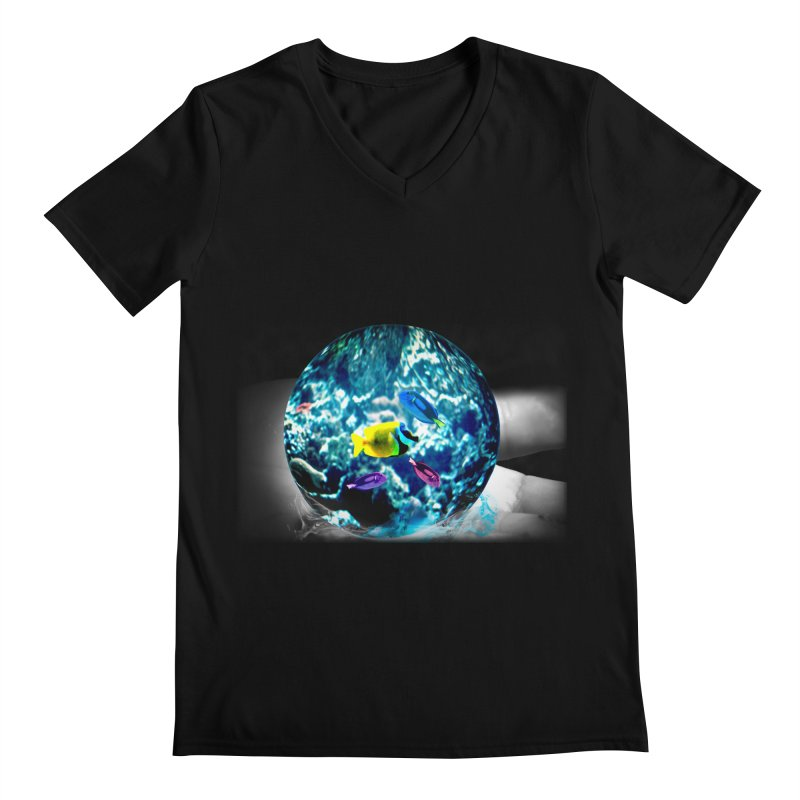Globe with the ocean in his hands Men's Regular V-Neck by Mirabelle Digital Art shop