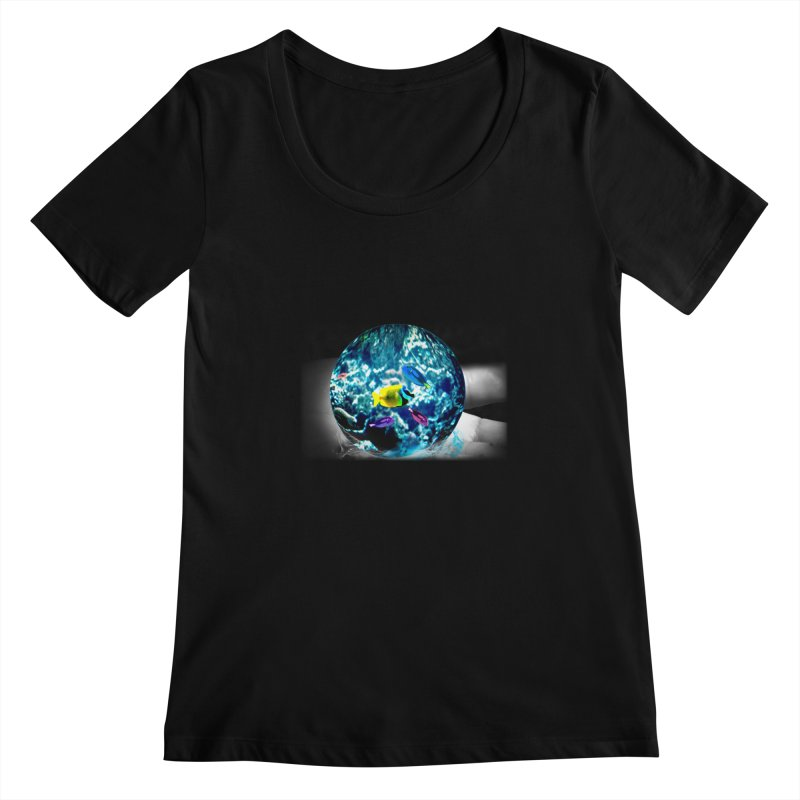 Globe with the ocean in his hands Women's Scoopneck by Mirabelle Digital Art shop