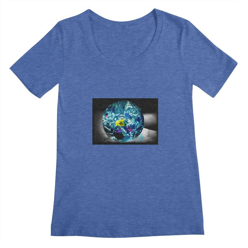 Globe with the ocean in his hands Women's Scoopneck by Mirabelle Digital Art shop