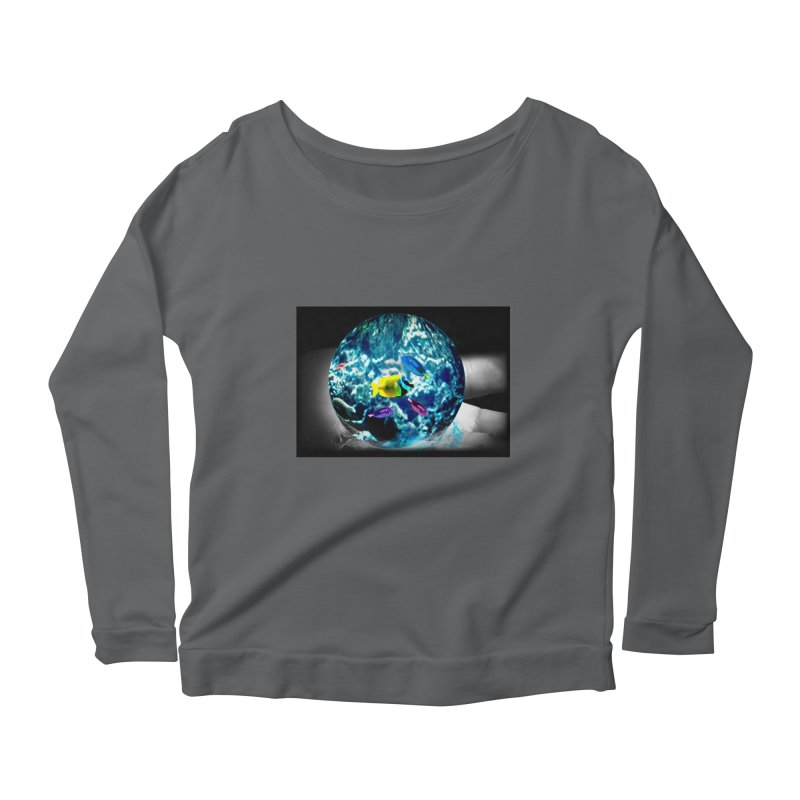 Globe with the ocean in his hands Women's Longsleeve Scoopneck  by Mirabelle Digital Art shop
