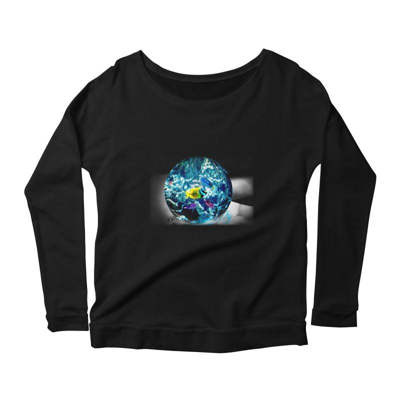 Globe with the ocean in his hands Women's Longsleeve Scoopneck  by Mirabelle Digital Art shop