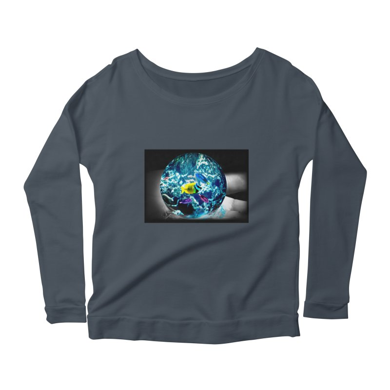 Globe with the ocean in his hands Women's Scoop Neck Longsleeve T-Shirt by Mirabelle Digital Art shop
