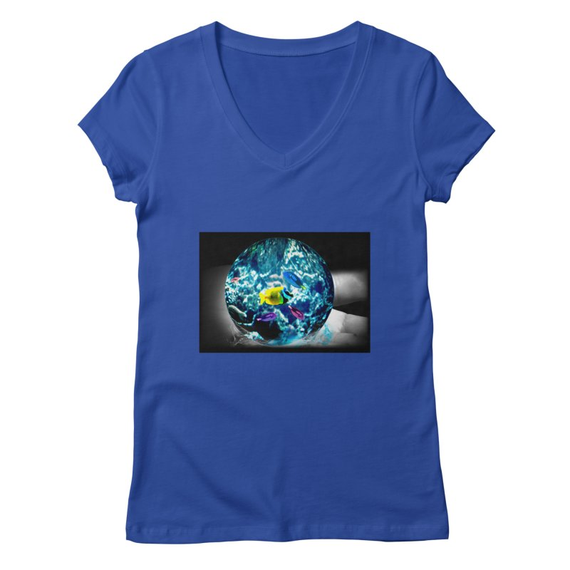 Globe with the ocean in his hands Women's V-Neck by Mirabelle Digital Art shop
