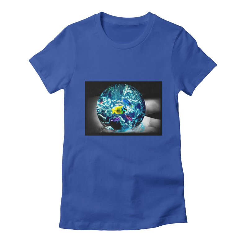 Globe with the ocean in his hands Women's Fitted T-Shirt by Mirabelle Digital Art shop