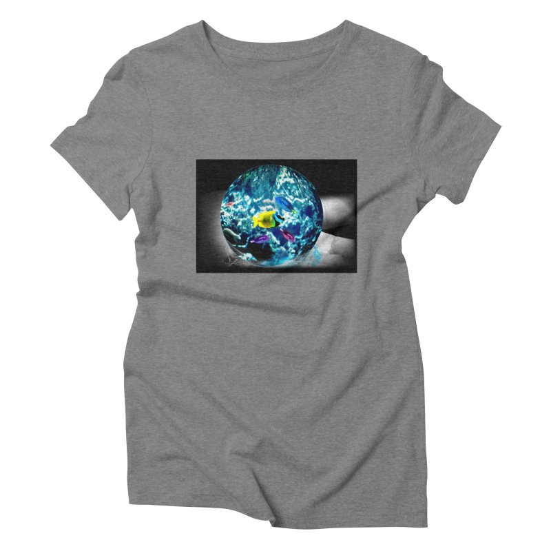 Globe with the ocean in his hands Women's Triblend T-shirt by Mirabelle Digital Art shop