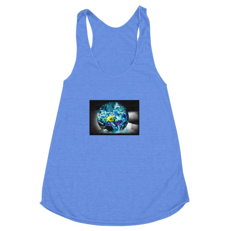 Globe with the ocean in his hands Women's Racerback Triblend Tank by Mirabelle Digital Art shop