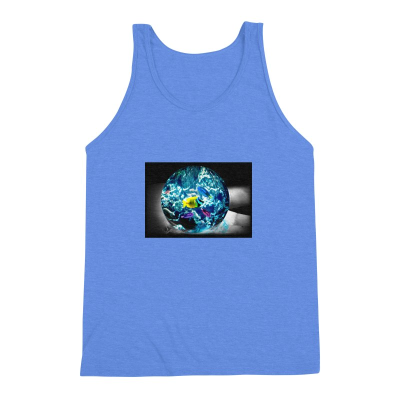 Globe with the ocean in his hands Men's Triblend Tank by Mirabelle Digital Art shop