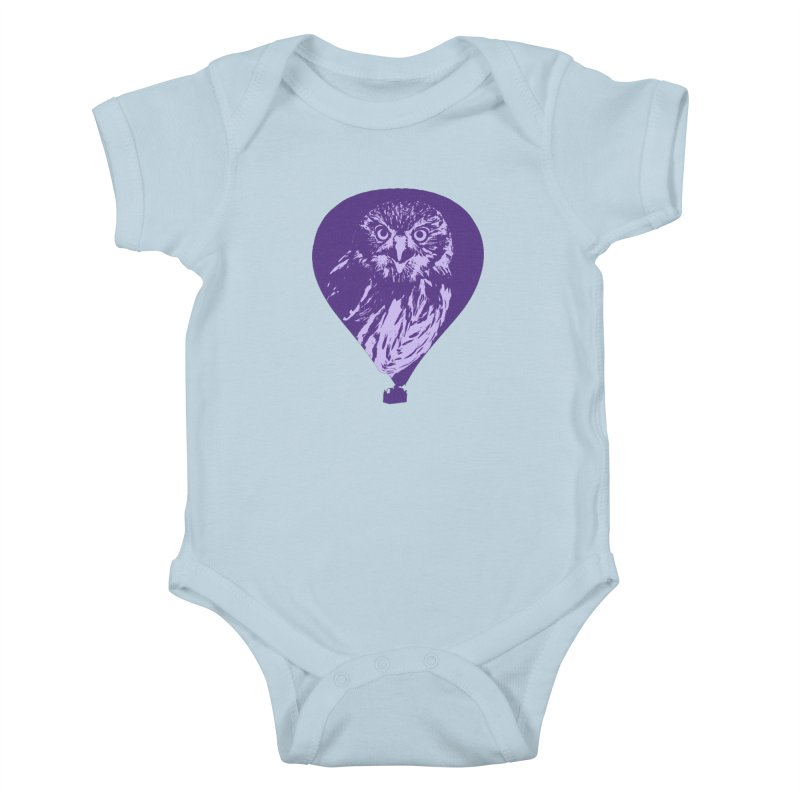 An owl in an air balloon Kids Baby Bodysuit by Mirabelle Digital Art shop