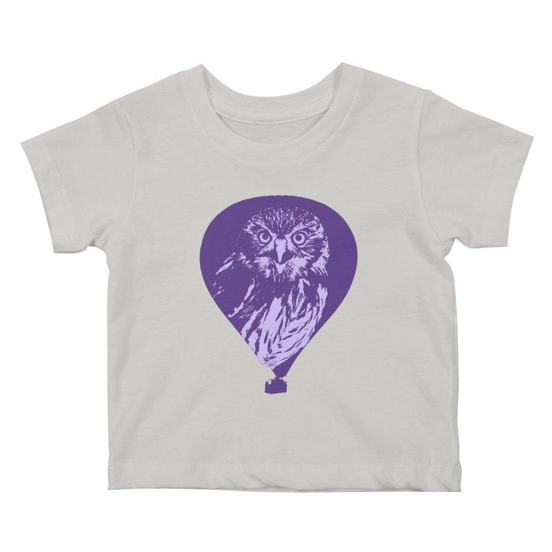 An owl in an air balloon Kids Baby T-Shirt by Mirabelle Digital Art shop