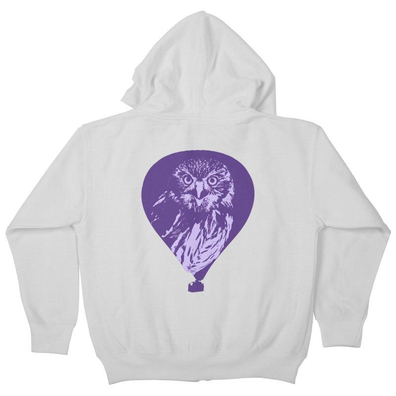 An owl in an air balloon Kids Zip-Up Hoody by Mirabelle Digital Art shop