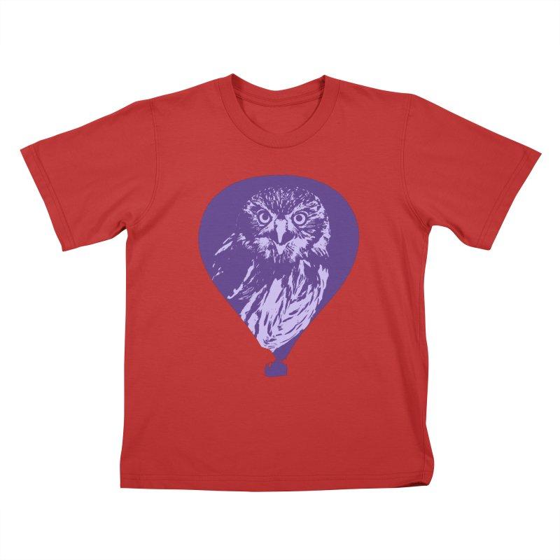 An owl in an air balloon Kids T-Shirt by Mirabelle Digital Art shop