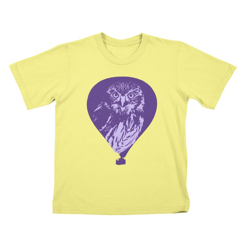 An owl in an air balloon Kids T-shirt by Mirabelle Digital Art shop