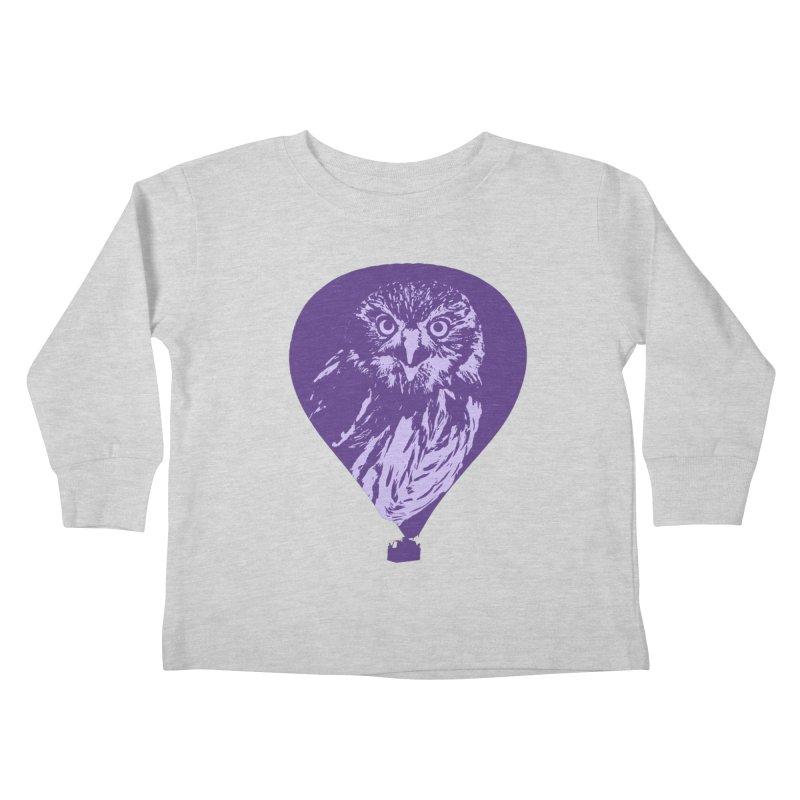 An owl in an air balloon Kids Toddler Longsleeve T-Shirt by Mirabelle Digital Art shop