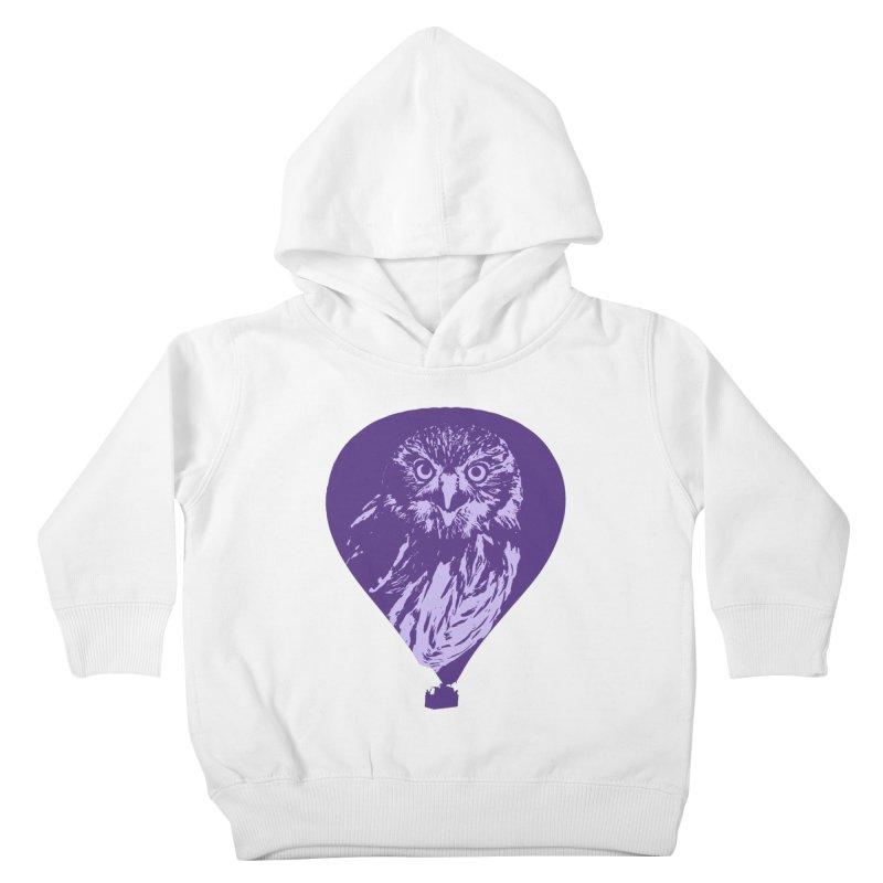An owl in an air balloon Kids Toddler Pullover Hoody by Mirabelle Digital Art shop