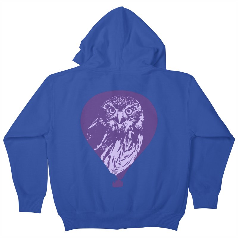 An owl in an air balloon Kids Zip-Up Hoody by Mirabelle Digital Art shop