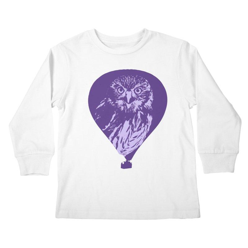 An owl in an air balloon Kids Longsleeve T-Shirt by Mirabelle Digital Art shop