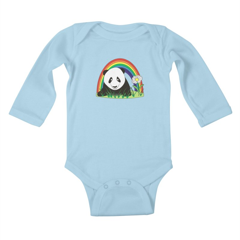 Cute panda Kids Baby Longsleeve Bodysuit by Mirabelle Digital Art shop