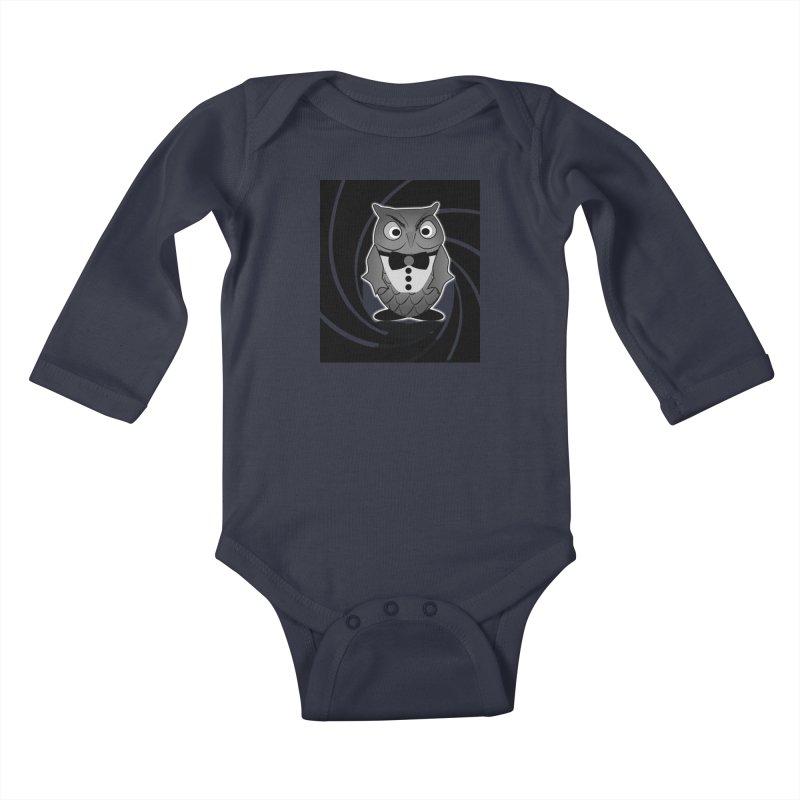 Double 0 Owl Kids Baby Longsleeve Bodysuit by Mirabelle Digital Art shop