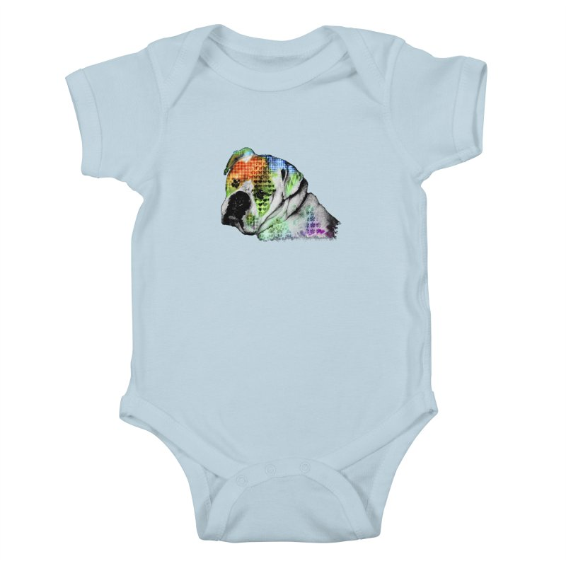 Bulldog Kids Baby Bodysuit by Mirabelle Digital Art shop
