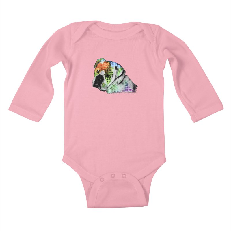 Bulldog Kids Baby Longsleeve Bodysuit by Mirabelle Digital Art shop