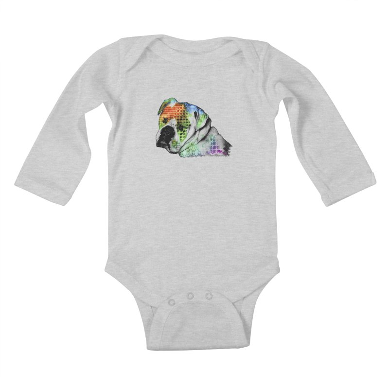 Bulldog Kids Baby Longsleeve Bodysuit by Mirabelle Digital Art shop