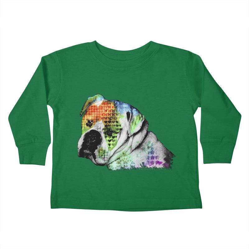 Bulldog Kids Toddler Longsleeve T-Shirt by Mirabelle Digital Art shop
