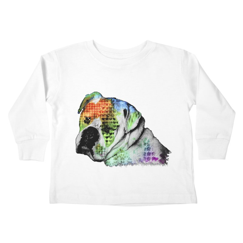 Bulldog Kids Toddler Longsleeve T-Shirt by Mirabelle Digital Art shop