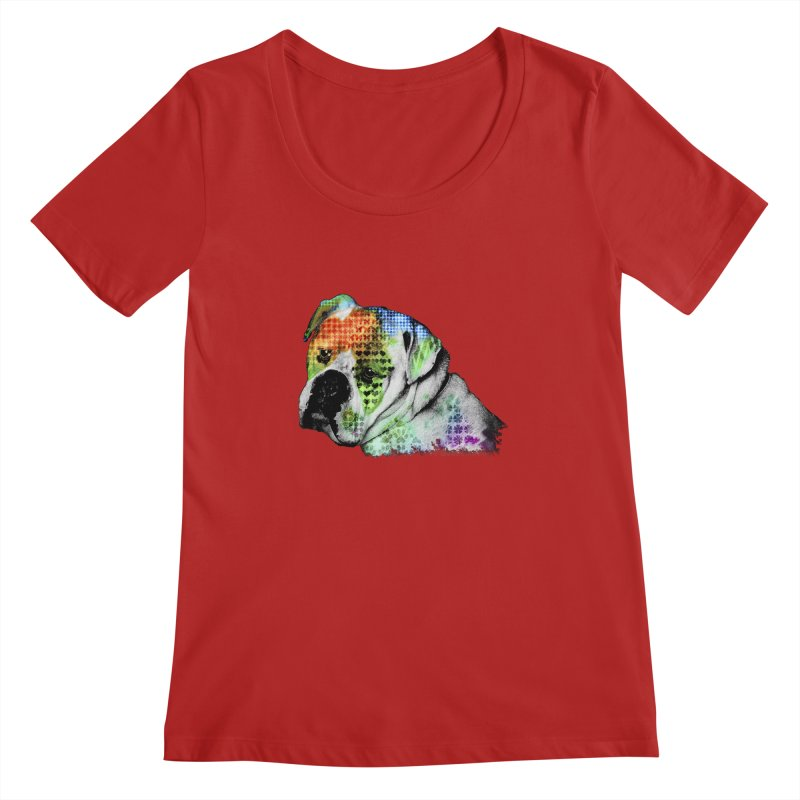 Bulldog Women's Scoopneck by Mirabelle Digital Art shop